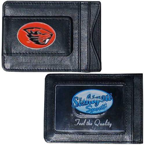 Money Clip/Cardholder - Oregon St. Beavers - Our genuine leather collegiate money clip/cardholder is the perfect way to organize both your cash and cards while showing off your school spirit! Thank you for shopping with CrazedOutSports.com