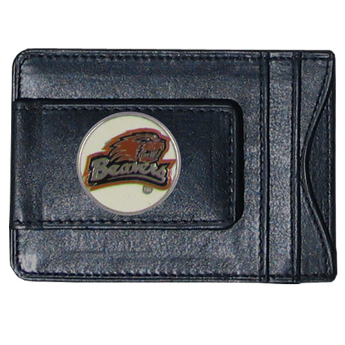 Oregon St. Leather Cash & Cardholder - Our genuine leather cash & cardholder features a magnetic money clip and credit card slots on one side and a photo ID slot on the other. This versatile holder features a cast & enameled Oregon St. emblem on the money clip. Thank you for shopping with CrazedOutSports.com
