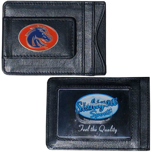 Money Clip/Cardholder - Boise St. Broncos - Our genuine leather collegiate money clip/cardholder is the perfect way to organize both your cash and cards while showing off your Boise State Broncos spirit! Thank you for shopping with CrazedOutSports.com