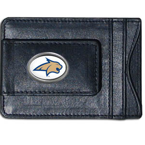 Money Clip/Cardholder - Montana St. Bobcats - Our genuine leather collegiate money clip/cardholder is the perfect way to organize both your cash and cards while showing off your school spirit! Thank you for shopping with CrazedOutSports.com