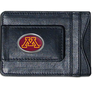 Minnesota Golden Golphers Money Clip/Cardholder - This genuine leather collegiate Minnesota Golden Golphers Money Clip/Cardholder is the perfect way to organize both your cash and cards while showing off your school spirit! Minnesota Golden Golphers Money Clip/Cardholder makes a great gift for any fan! Thank you for shopping with CrazedOutSports.com