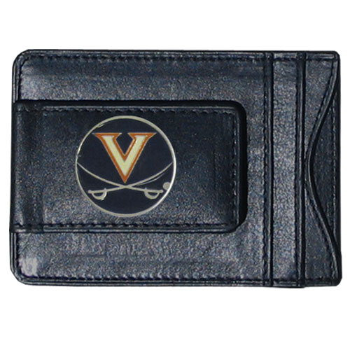 Virginia Leather Cash & Cardholder - Our genuine leather cash & cardholder features a magnetic money clip and credit card slots on one side and a photo ID slot on the other. This versatile holder features a cast & enameled Virginia emblem on the money clip. Thank you for shopping with CrazedOutSports.com