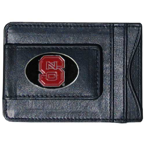 Money Clip/Cardholder - N. Carolina St. Wolfpack - Our genuine leather collegiate money clip/cardholder is the perfect way to organize both your cash and cards while showing off your school spirit! Thank you for shopping with CrazedOutSports.com
