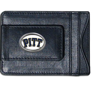 Money Clip/Cardholder - Pittsburgh Panthers - Our genuine leather collegiate money clip/cardholder is the perfect way to organize both your cash and cards while showing off your school spirit! Thank you for shopping with CrazedOutSports.com