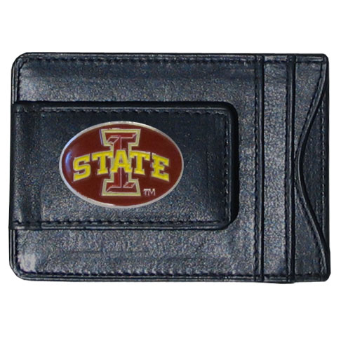 Money Clip/Cardholder - Iowa St. Cyclones - This Iowa St. Cyclones genuine leather collegiate money clip/cardholder is the perfect way to organize both your cash and cards while showing off your school spirit! Thank you for shopping with CrazedOutSports.com