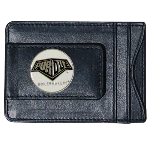 Purdue Leather Cash & Cardholder - Our genuine leather cash & cardholder features a magnetic money clip and credit card slots on one side and a photo ID slot on the other. This versatile holder features a cast & enameled Purdue emblem on the money clip. Thank you for shopping with CrazedOutSports.com