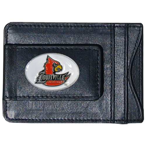 Money Clip/Cardholder - Louisville Cardinals - This genuine leather Louisville Cardinals collegiate money clip/cardholder is the perfect way to organize both your cash and cards while showing off your school spirit! Thank you for shopping with CrazedOutSports.com