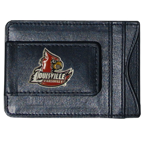 Louisville Leather Cash & Cardholder - Our genuine leather cash & cardholder features a magnetic money clip and credit card slots on one side and a photo ID slot on the other. This versatile holder features a cast & enameled Louisville emblem on the money clip. Thank you for shopping with CrazedOutSports.com