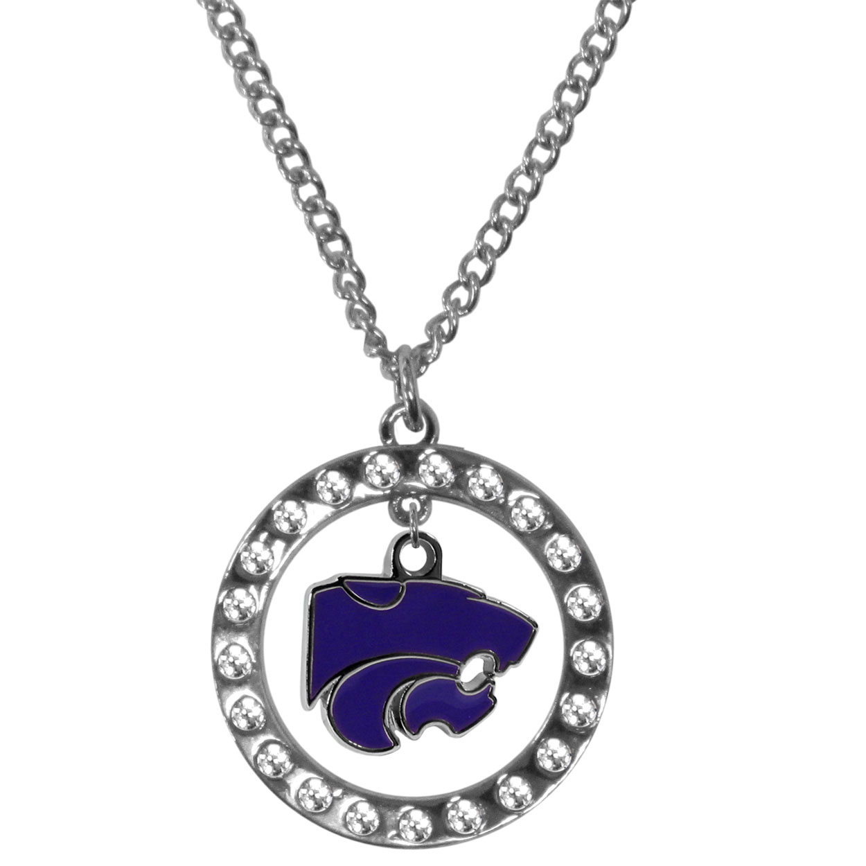 Kansas St. Wildcats Rhinestone Hoop Necklaces - Our Kansas St. Wildcats rhinestone hoop necklace comes on an 18 inch chain and features a hoop covered in rhinestones with a high polish chrome finish and a cast and enameled team charm dangling in the center.