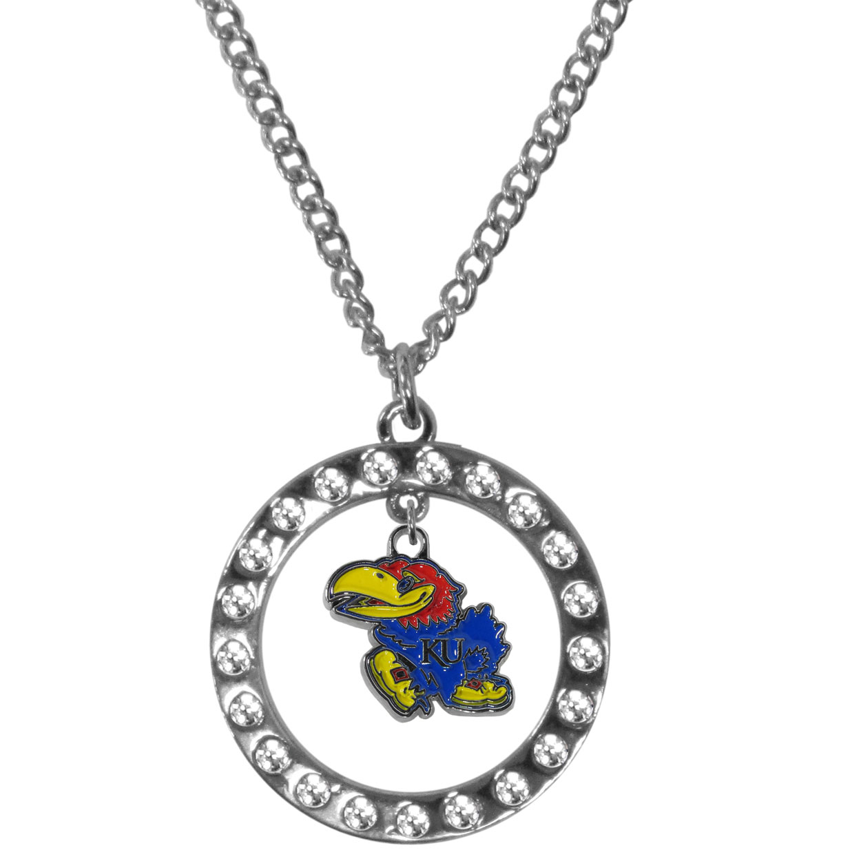 Kansas Jayhawks Rhinestone Hoop Necklaces - Our Kansas Jayhawks rhinestone hoop necklace comes on an 18 inch chain and features a hoop covered in rhinestones with a high polish chrome finish and a cast and enameled team charm dangling in the center.
