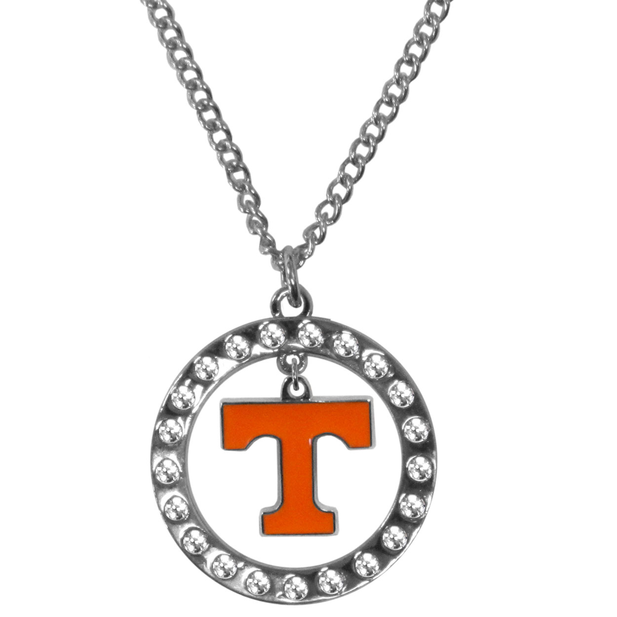 Tennessee Volunteers Rhinestone Hoop Necklaces - Our Tennessee Volunteers rhinestone hoop necklace comes on an 18 inch chain and features a hoop covered in rhinestones with a high polish chrome finish and a cast and enameled team charm dangling in the center.
