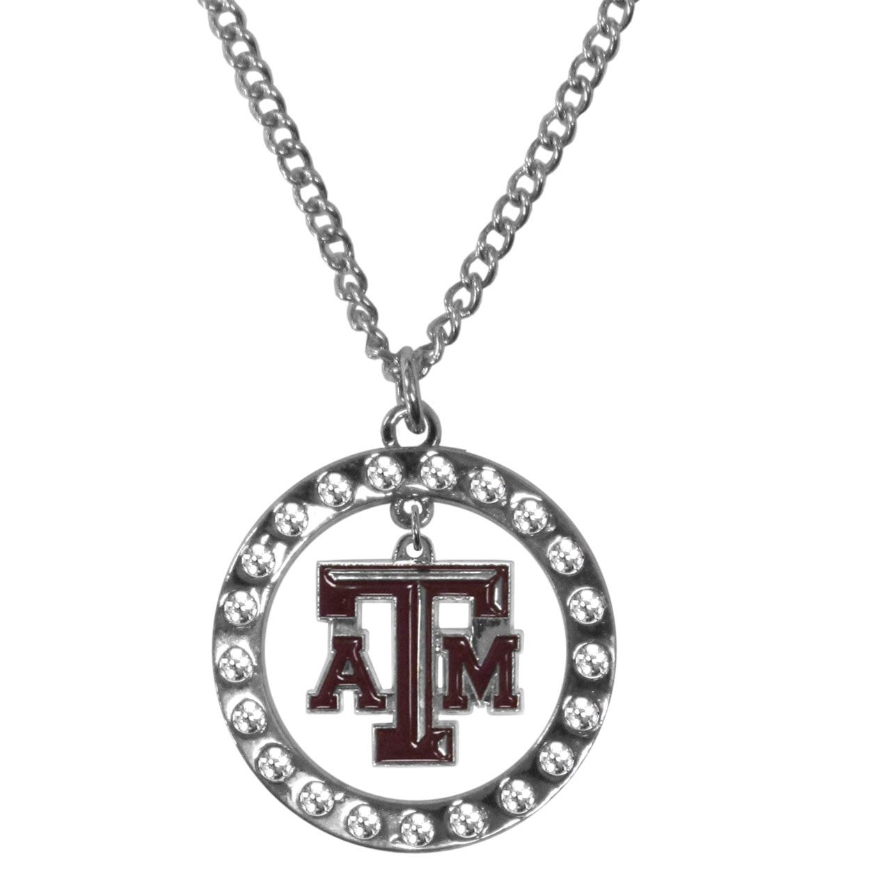 Texas A and M Aggies Rhinestone Hoop Necklaces - Our Texas A & M Aggies rhinestone hoop necklace comes on an 18 inch chain and features a hoop covered in rhinestones with a high polish chrome finish and a cast and enameled team charm dangling in the center.