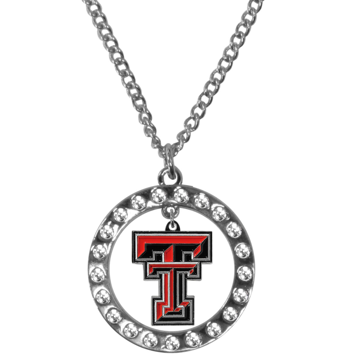 Texas Tech Raiders Rhinestone Hoop Necklaces - Our Texas Tech Raiders rhinestone hoop necklace comes on an 18 inch chain and features a hoop covered in rhinestones with a high polish chrome finish and a cast and enameled team charm dangling in the center.
