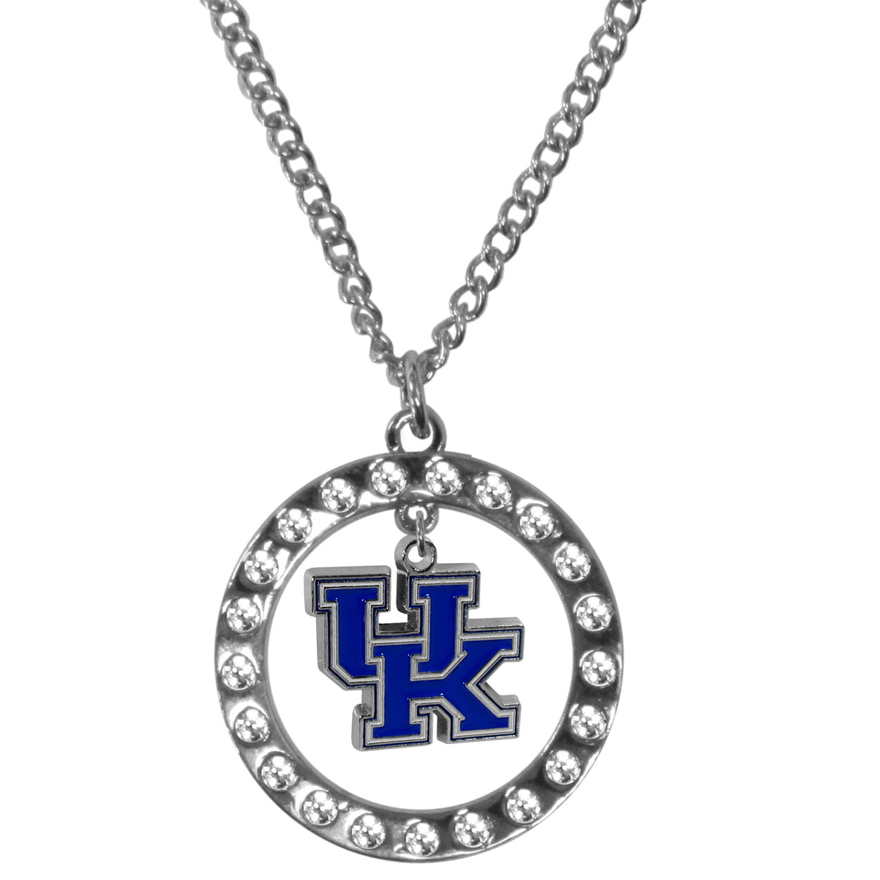 Kentucky Wildcats Rhinestone Hoop Necklaces - Our Kentucky Wildcats rhinestone hoop necklace comes on an 18 inch chain and features a hoop covered in rhinestones with a high polish chrome finish and a cast and enameled team charm dangling in the center.