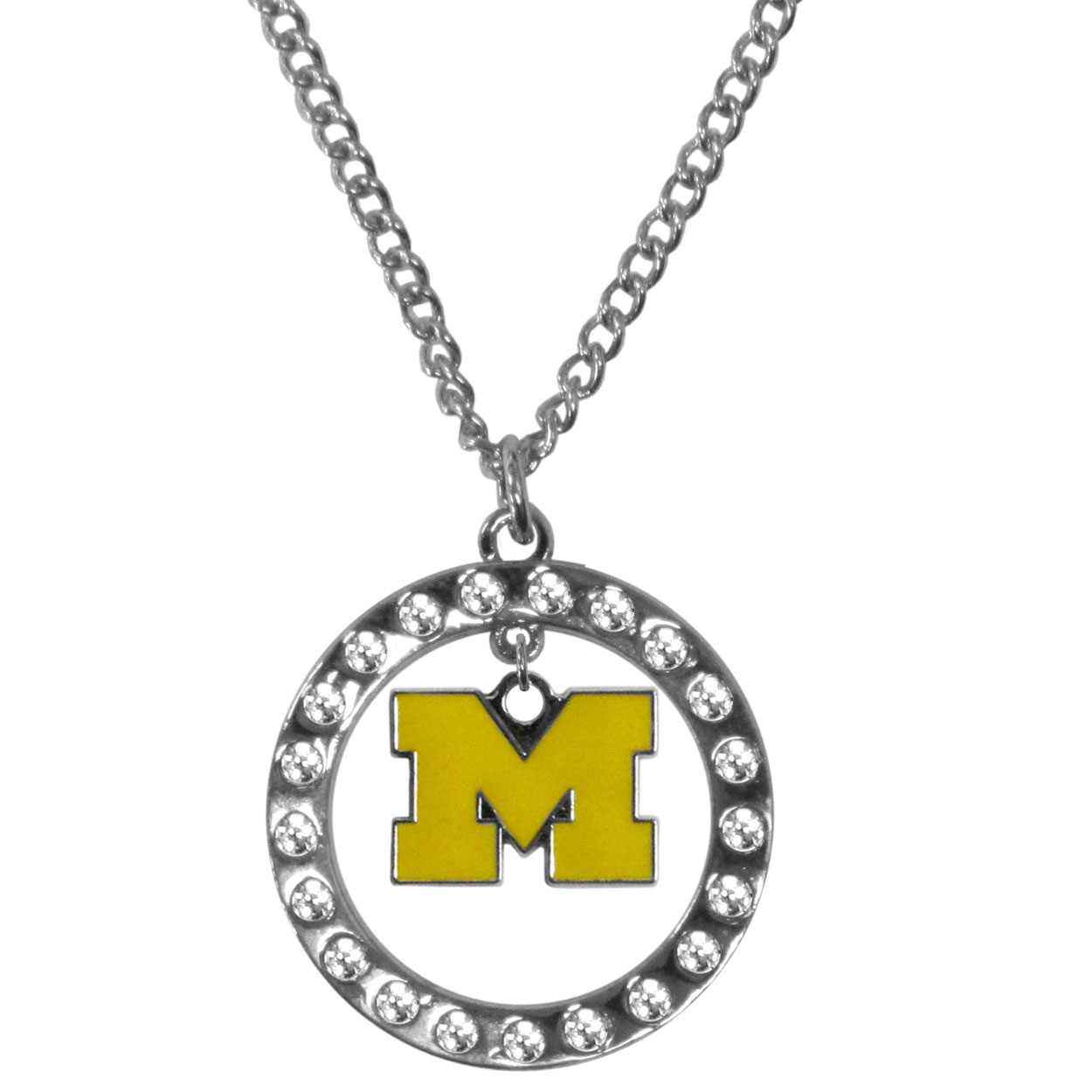 Michigan Wolverines Rhinestone Hoop Necklaces - Our Michigan Wolverines rhinestone hoop necklace comes on an 18 inch chain and features a hoop covered in rhinestones with a high polish chrome finish and a cast and enameled team charm dangling in the center.