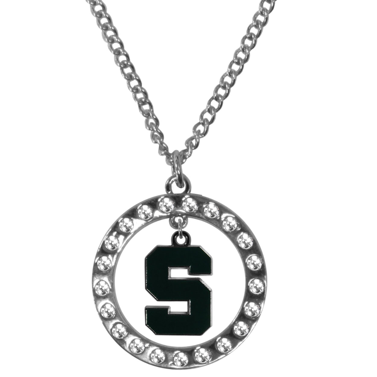 Michigan St. Spartans Rhinestone Hoop Necklaces - Our Michigan St. Spartans rhinestone hoop necklace comes on an 18 inch chain and features a hoop covered in rhinestones with a high polish chrome finish and a cast and enameled team charm dangling in the center.