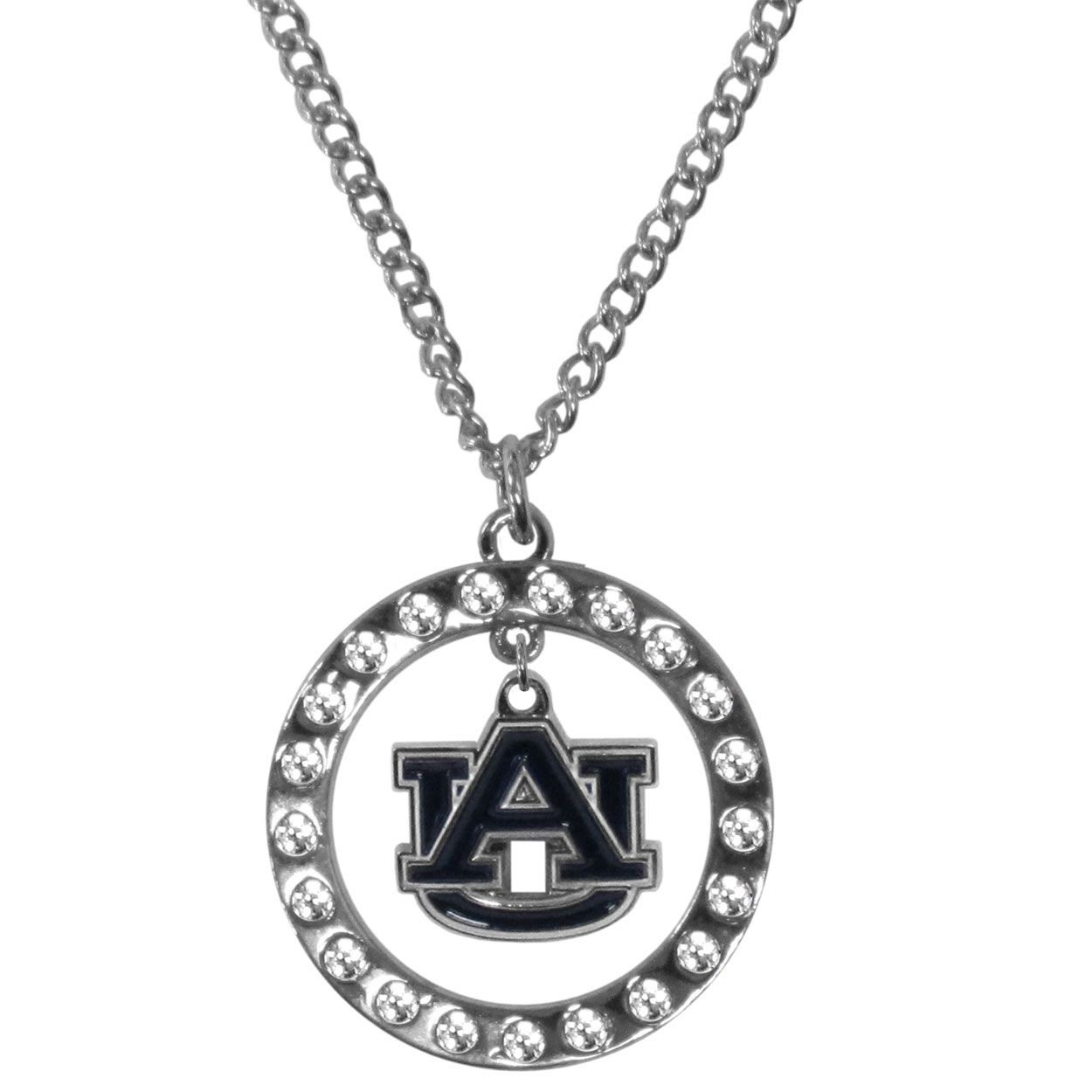 Auburn Tigers Rhinestone Hoop Necklaces - Our Auburn Tigers rhinestone hoop necklace comes on an 18 inch chain and features a hoop covered in rhinestones with a high polish chrome finish and a cast and enameled team charm dangling in the center.