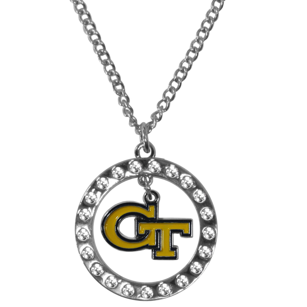 Georgia Tech Yellow Jackets Rhinestone Hoop Necklaces - Our Georgia Tech Yellow Jackets rhinestone hoop necklace comes on an 18 inch chain and features a hoop covered in rhinestones with a high polish chrome finish and a cast and enameled team charm dangling in the center.