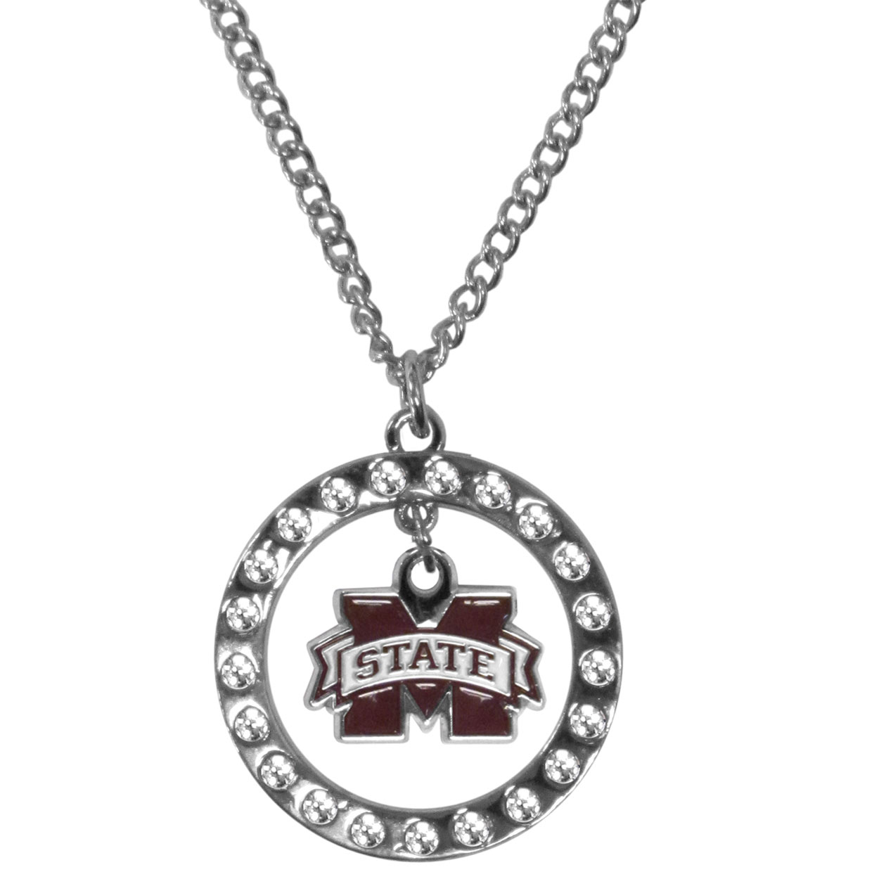 Mississippi St. Bulldogs Rhinestone Hoop Necklaces - Our Mississippi St. Bulldogs rhinestone hoop necklace comes on an 18 inch chain and features a hoop covered in rhinestones with a high polish chrome finish and a cast and enameled team charm dangling in the center.