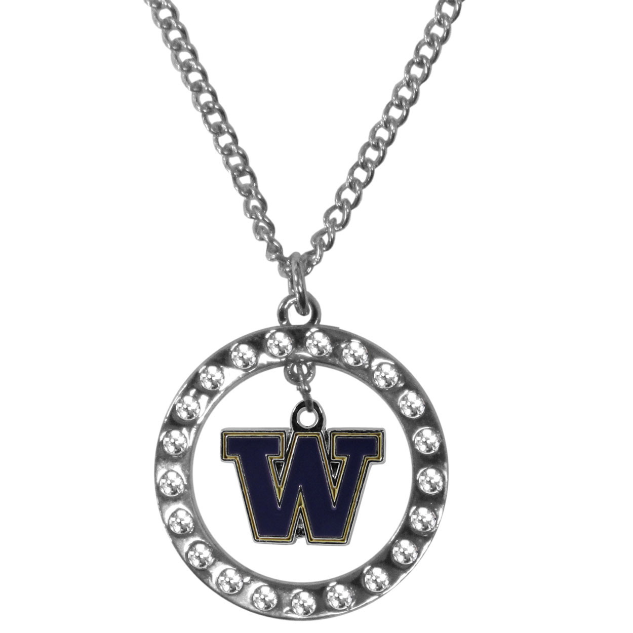 Washington Huskies Rhinestone Hoop Necklaces - Our Washington Huskies rhinestone hoop necklace comes on an 18 inch chain and features a hoop covered in rhinestones with a high polish chrome finish and a cast and enameled team charm dangling in the center.