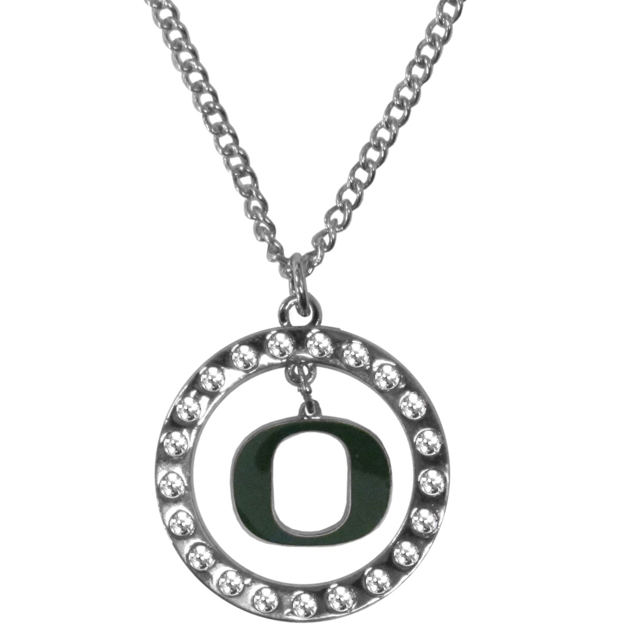 Oregon Ducks Rhinestone Hoop Necklaces - Our Oregon Ducks rhinestone hoop necklace comes on an 18 inch chain and features a hoop covered in rhinestones with a high polish chrome finish and a cast and enameled team charm dangling in the center.