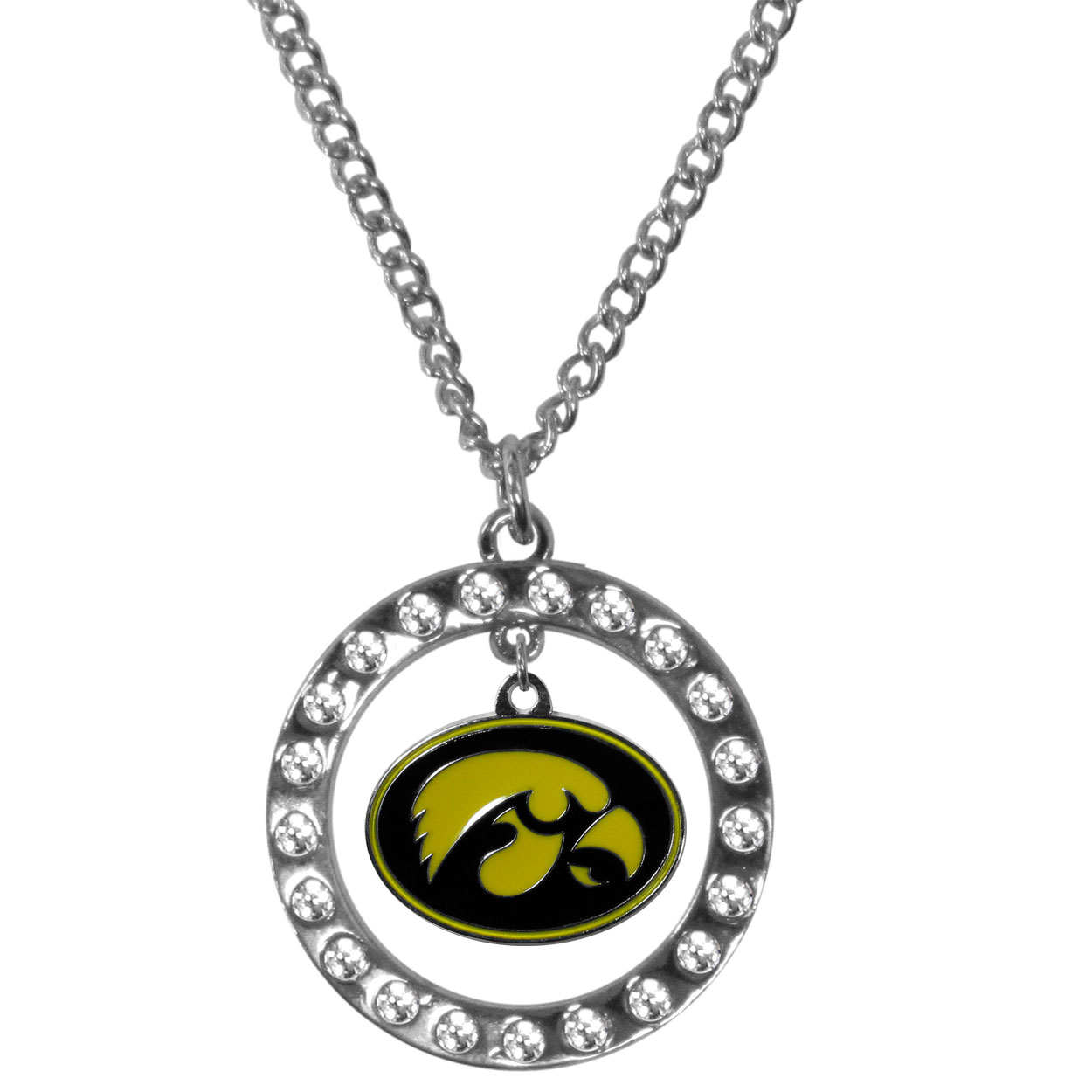 Iowa Hawkeyes Rhinestone Hoop Necklaces - Our Iowa Hawkeyes rhinestone hoop necklace comes on an 18 inch chain and features a hoop covered in rhinestones with a high polish chrome finish and a cast and enameled team charm dangling in the center.