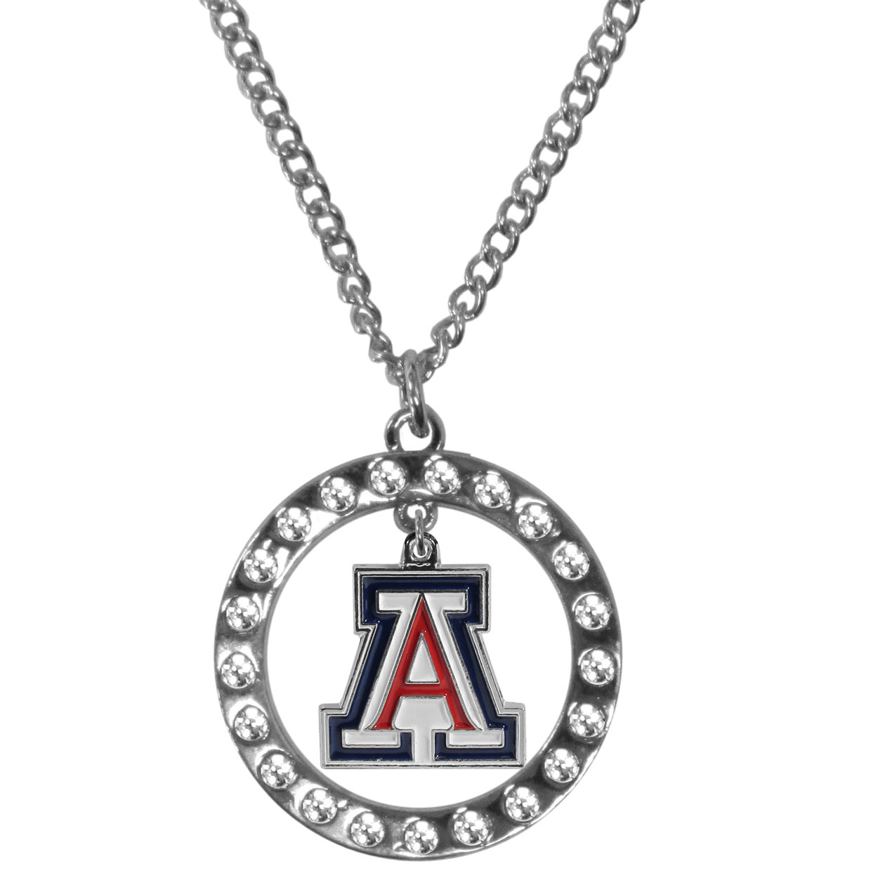 Arizona Wildcats Rhinestone Hoop Necklaces - Our Arizona Wildcats rhinestone hoop necklace comes on an 18 inch chain and features a hoop covered in rhinestones with a high polish chrome finish and a cast and enameled team charm dangling in the center.