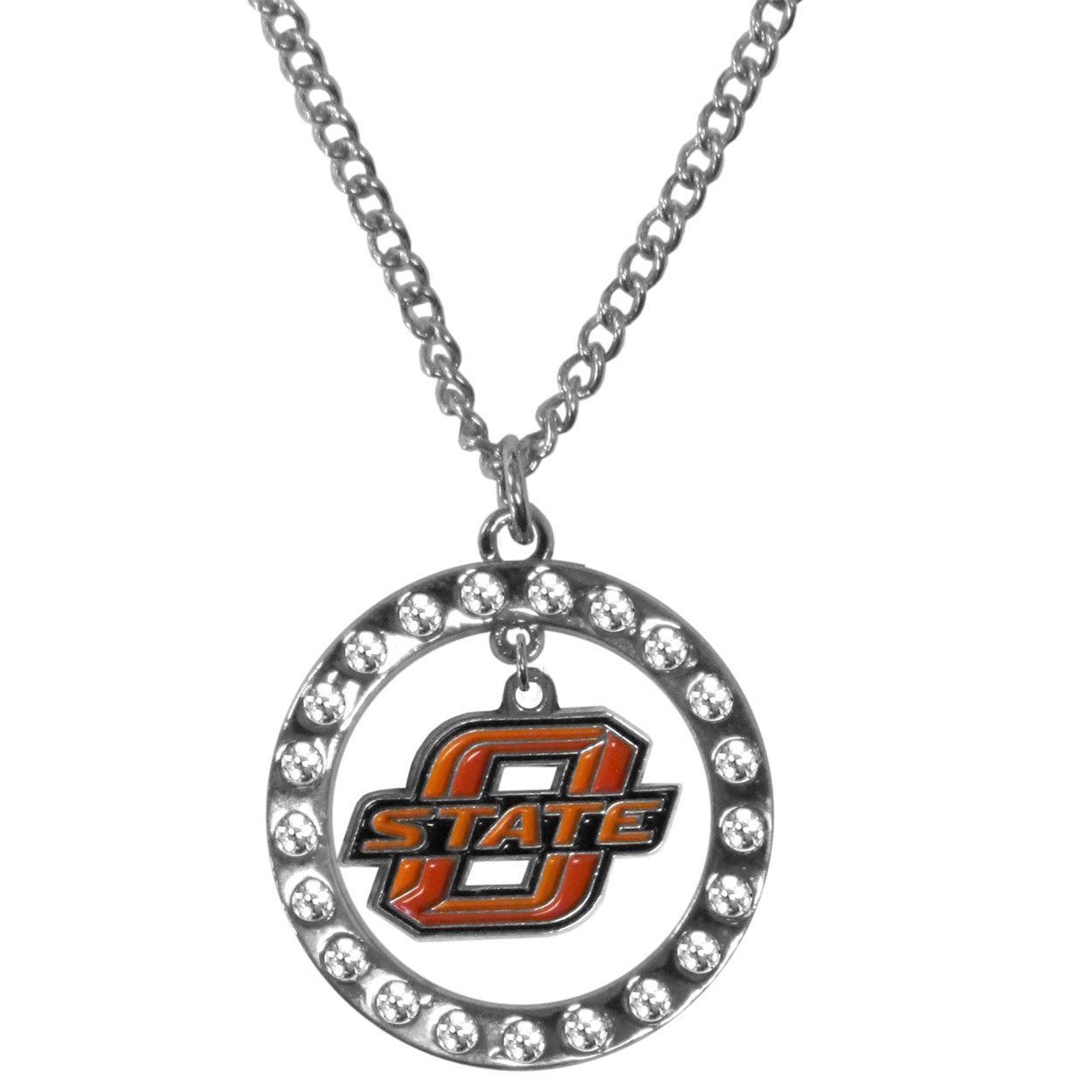 Oklahoma St. Cowboys Rhinestone Hoop Necklaces - Our Oklahoma St. Cowboys rhinestone hoop necklace comes on an 18 inch chain and features a hoop covered in rhinestones with a high polish chrome finish and a cast and enameled team charm dangling in the center.