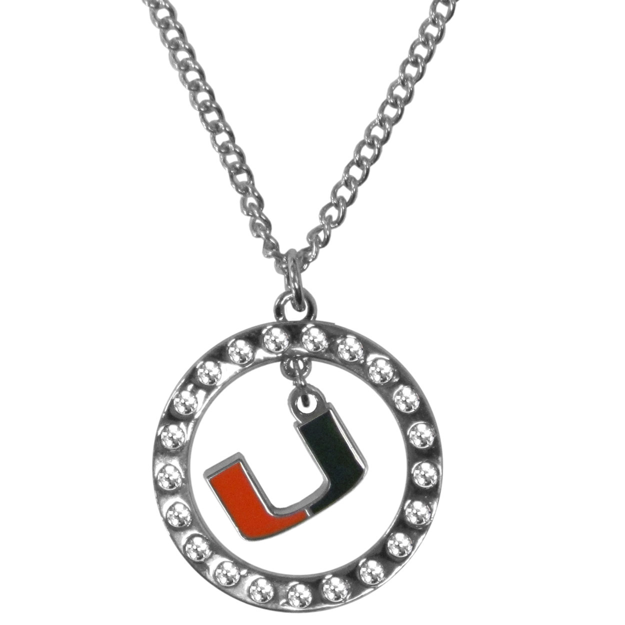 Miami Hurricanes Rhinestone Hoop Necklaces - Our Miami Hurricanes rhinestone hoop necklace comes on an 18 inch chain and features a hoop covered in rhinestones with a high polish chrome finish and a cast and enameled team charm dangling in the center.