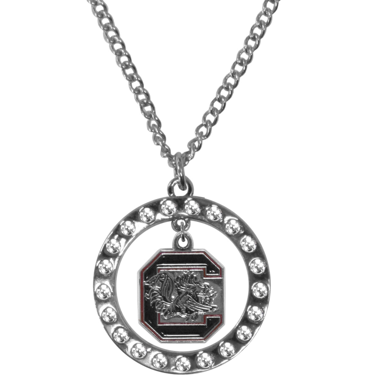 S. Carolina Gamecocks Rhinestone Hoop Necklaces - Our S. Carolina Gamecocks rhinestone hoop necklace comes on an 18 inch chain and features a hoop covered in rhinestones with a high polish chrome finish and a cast and enameled team charm dangling in the center.