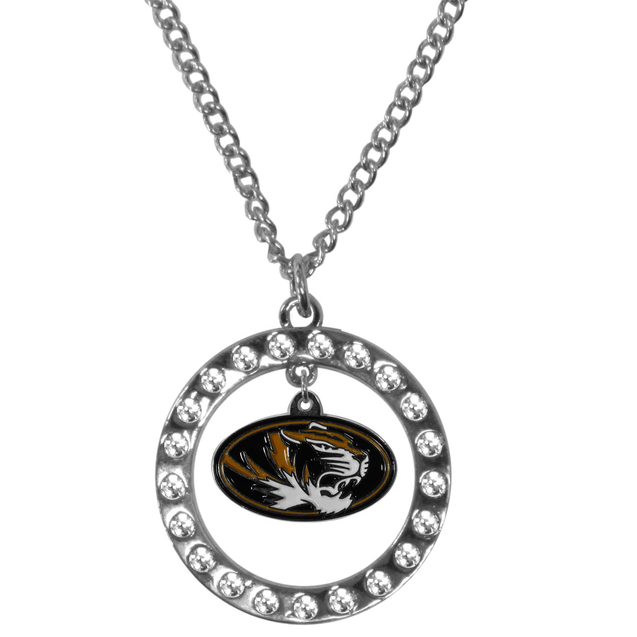 Missouri Tigers Rhinestone Hoop Necklaces - Our Missouri Tigers rhinestone hoop necklace comes on an 18 inch chain and features a hoop covered in rhinestones with a high polish chrome finish and a cast and enameled team charm dangling in the center.