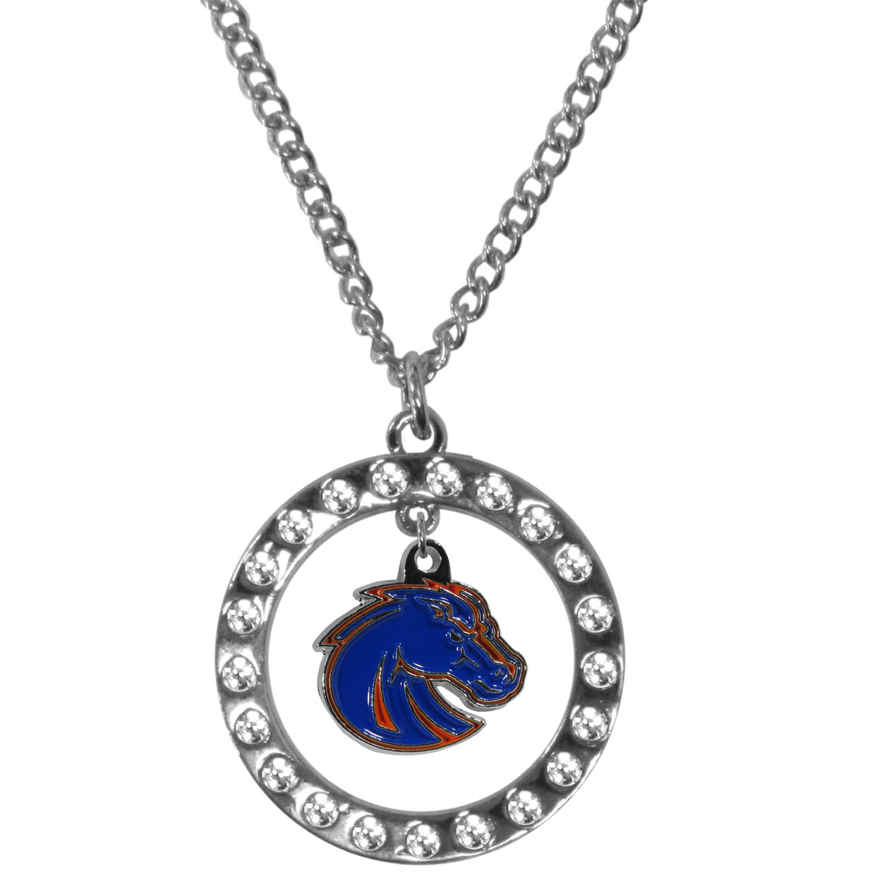 Boise St. Broncos Rhinestone Hoop Necklaces - Our Boise St. Broncos rhinestone hoop necklace comes on an 18 inch chain and features a hoop covered in rhinestones with a high polish chrome finish and a cast and enameled team charm dangling in the center.