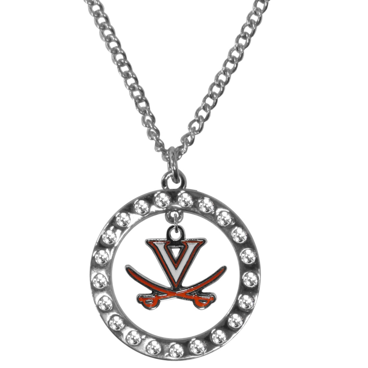 Virginia Cavaliers Rhinestone Hoop Necklaces - Our Virginia Cavaliers rhinestone hoop necklace comes on an 18 inch chain and features a hoop covered in rhinestones with a high polish chrome finish and a cast and enameled team charm dangling in the center.