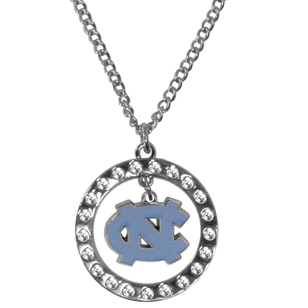 N. Carolina Tar Heels Rhinestone Hoop Necklaces - Our N. Carolina Tar Heels rhinestone hoop necklace comes on an 18 inch chain and features a hoop covered in rhinestones with a high polish chrome finish and a cast and enameled team charm dangling in the center.