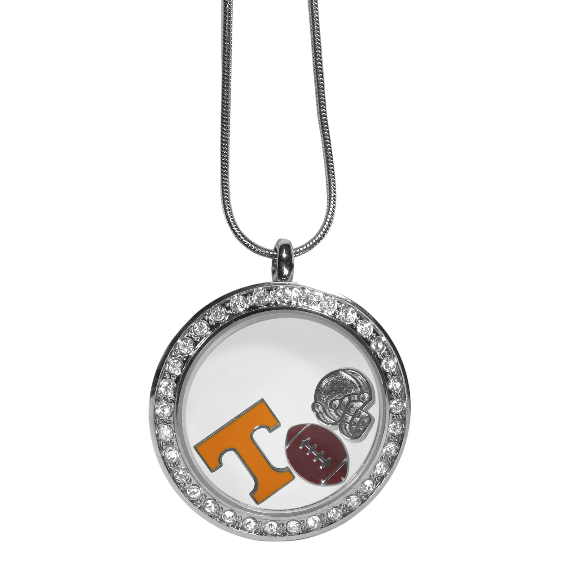 Tennessee Volunteers Locket Necklace - We have taken the classic floating charm locket and combined with licensed sports charms to create a must have fan necklace. The necklace comes with 3 charms; 1 Tennessee Volunteers charm, one football charm and one helmet charm. The charms float in a beautiful locket that has a strong magnetic closure with a rhinestone border. The locket comes on an 18 inch snake chain with 2 inch extender.