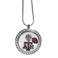 Texas A & M Aggies Locket Necklace - We have taken the classic floating charm locket and combined with licensed sports charms to create a must have fan necklace. The necklace comes with 3 charms; 1 Texas A & M Aggies charm, one football charm and one helmet charm. The charms float in a beautiful locket that has a strong magnetic closure with a rhinestone border. The locket comes on an 18 inch snake chain with 2 inch extender.