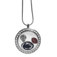 Penn St. Nittany Lions Locket Necklace - We have taken the classic floating charm locket and combined with licensed sports charms to create a must have fan necklace. The necklace comes with 3 charms; 1 Penn St. Nittany Lions charm, one football charm and one helmet charm. The charms float in a beautiful locket that has a strong magnetic closure with a rhinestone border. The locket comes on an 18 inch snake chain with 2 inch extender.