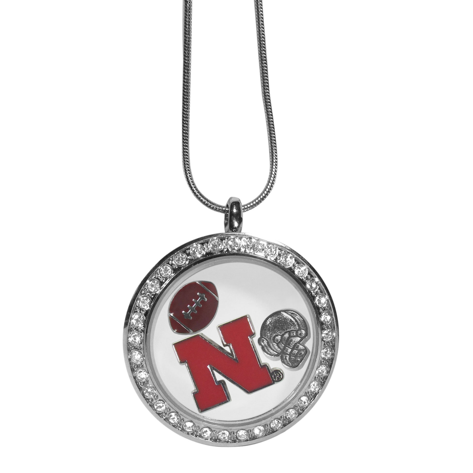 Nebraska Cornhuskers Locket Necklace - We have taken the classic floating charm locket and combined with licensed sports charms to create a must have fan necklace. The necklace comes with 3 charms; 1 Nebraska Cornhuskers charm, one football charm and one helmet charm. The charms float in a beautiful locket that has a strong magnetic closure with a rhinestone border. The locket comes on an 18 inch snake chain with 2 inch extender.