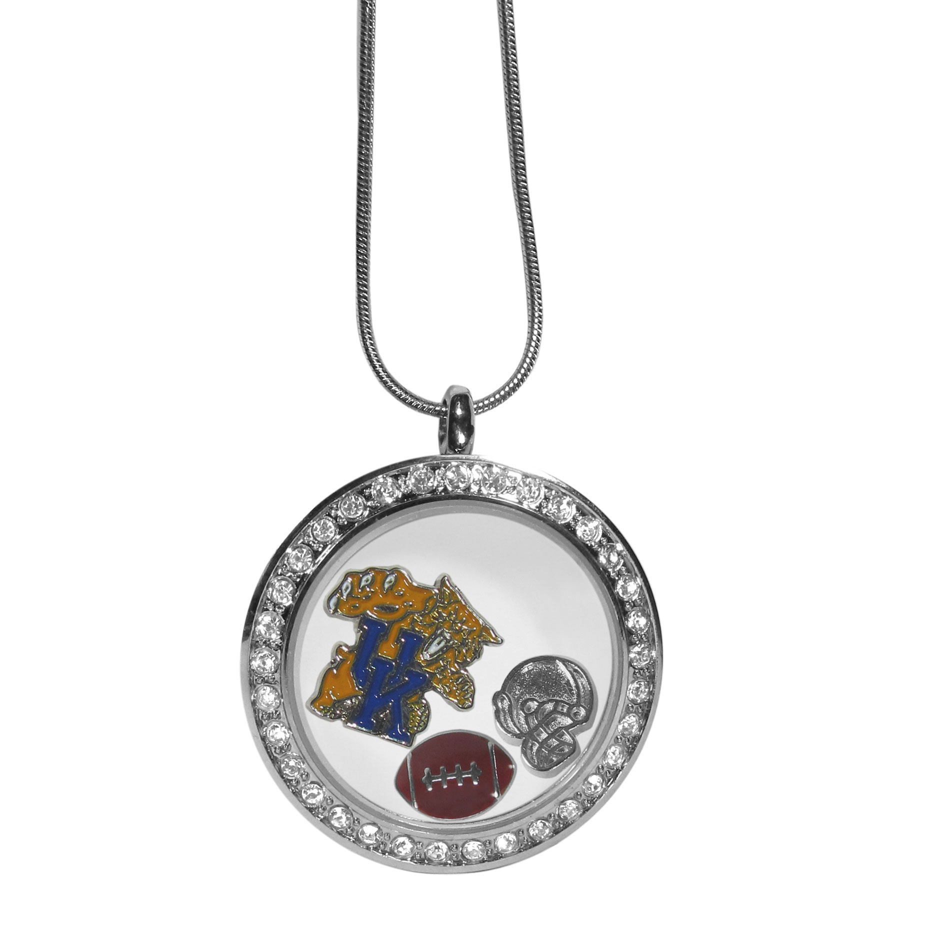 Kentucky Wildcats Locket Necklace - We have taken the classic floating charm locket and combined with licensed sports charms to create a must have fan necklace. The necklace comes with 3 charms; 1 Kentucky Wildcats charm, one football charm and one helmet charm. The charms float in a beautiful locket that has a strong magnetic closure with a rhinestone border. The locket comes on an 18 inch snake chain with 2 inch extender.