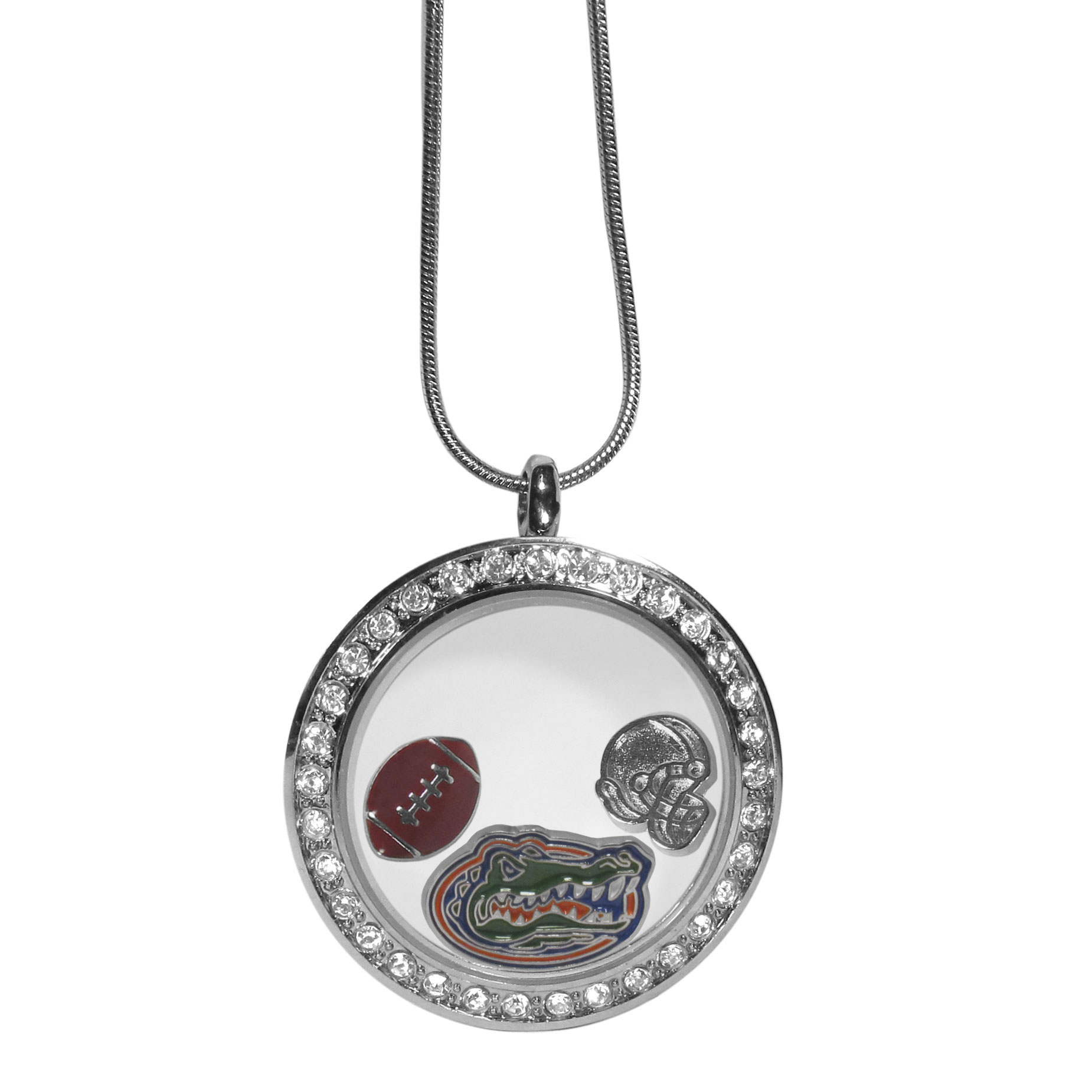 Florida Gators Locket Necklace - We have taken the classic floating charm locket and combined with licensed sports charms to create a must have fan necklace. The necklace comes with 3 charms; 1 Florida Gators charm, one football charm and one helmet charm. The charms float in a beautiful locket that has a strong magnetic closure with a rhinestone border. The locket comes on an 18 inch snake chain with 2 inch extender.
