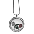 Michigan St. Spartans Locket Necklace - We have taken the classic floating charm locket and combined with licensed sports charms to create a must have fan necklace. The necklace comes with 3 charms; 1 Michigan St. Spartans charm, one football charm and one helmet charm. The charms float in a beautiful locket that has a strong magnetic closure with a rhinestone border. The locket comes on an 18 inch snake chain with 2 inch extender.