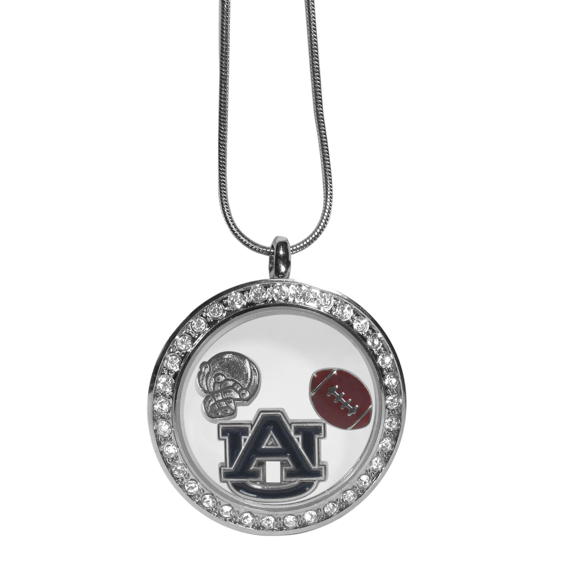 Auburn Tigers Locket Necklace - We have taken the classic floating charm locket and combined with licensed sports charms to create a must have fan necklace. The necklace comes with 3 charms; 1 Auburn Tigers charm, one football charm and one helmet charm. The charms float in a beautiful locket that has a strong magnetic closure with a rhinestone border. The locket comes on an 18 inch snake chain with 2 inch extender.