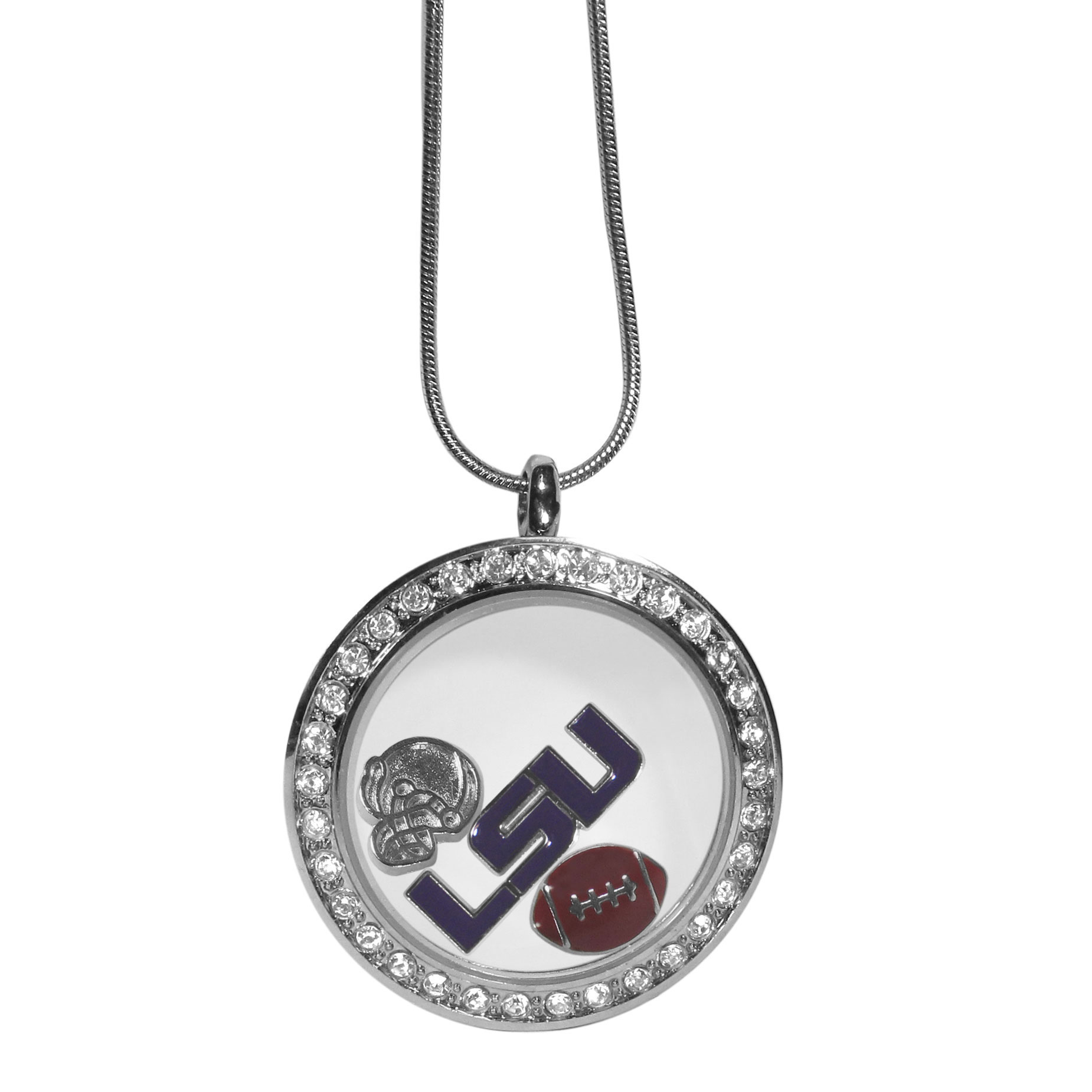 LSU Tigers Locket Necklace - We have taken the classic floating charm locket and combined with licensed sports charms to create a must have fan necklace. The necklace comes with 3 charms; 1 LSU Tigers charm, one football charm and one helmet charm. The charms float in a beautiful locket that has a strong magnetic closure with a rhinestone border. The locket comes on an 18 inch snake chain with 2 inch extender.
