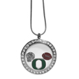 Oregon Ducks Locket Necklace - We have taken the classic floating charm locket and combined with licensed sports charms to create a must have fan necklace. The necklace comes with 3 charms; 1 Oregon Ducks charm, one football charm and one helmet charm. The charms float in a beautiful locket that has a strong magnetic closure with a rhinestone border. The locket comes on an 18 inch snake chain with 2 inch extender.
