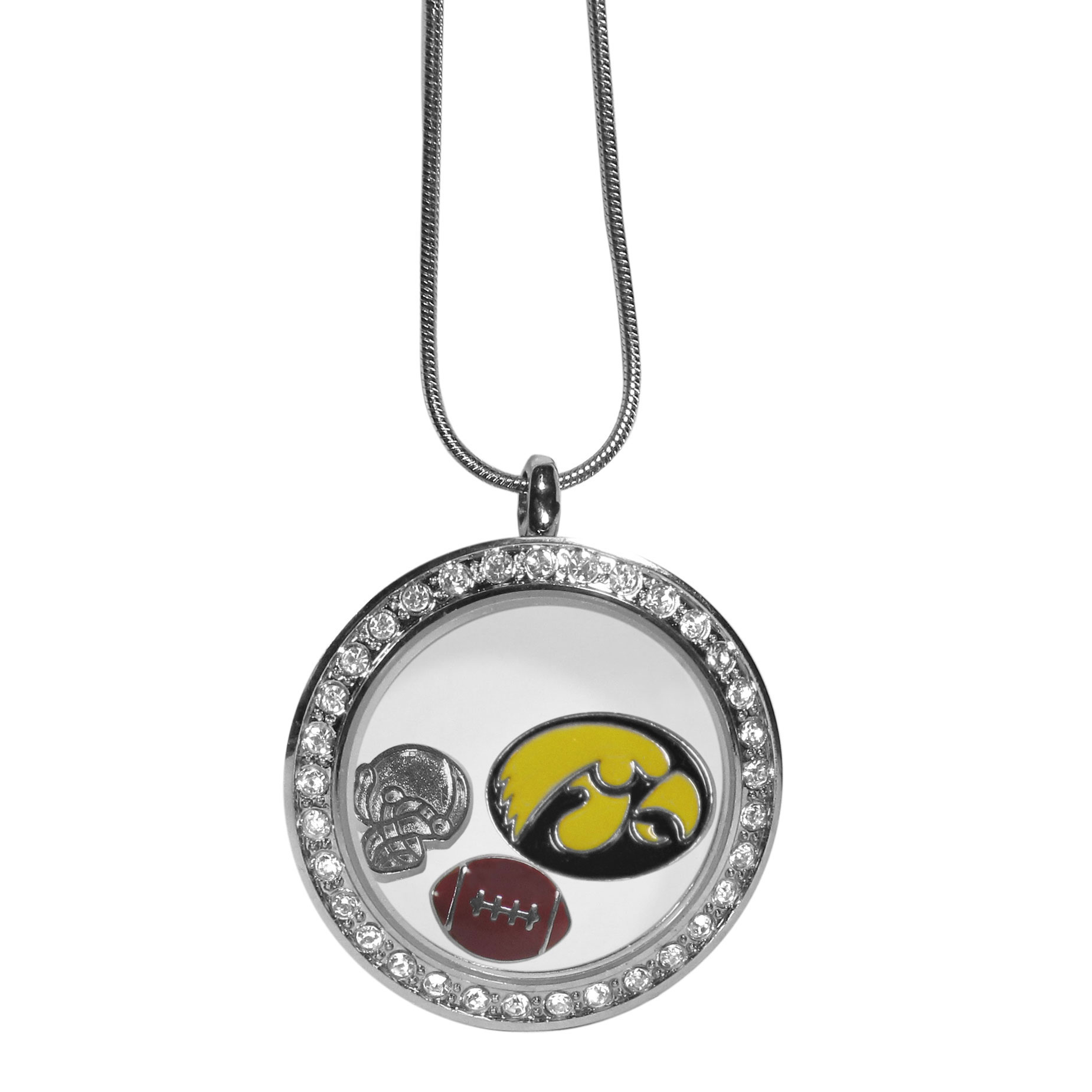 Iowa Hawkeyes Locket Necklace - We have taken the classic floating charm locket and combined with licensed sports charms to create a must have fan necklace. The necklace comes with 3 charms; 1 Iowa Hawkeyes charm, one football charm and one helmet charm. The charms float in a beautiful locket that has a strong magnetic closure with a rhinestone border. The locket comes on an 18 inch snake chain with 2 inch extender.