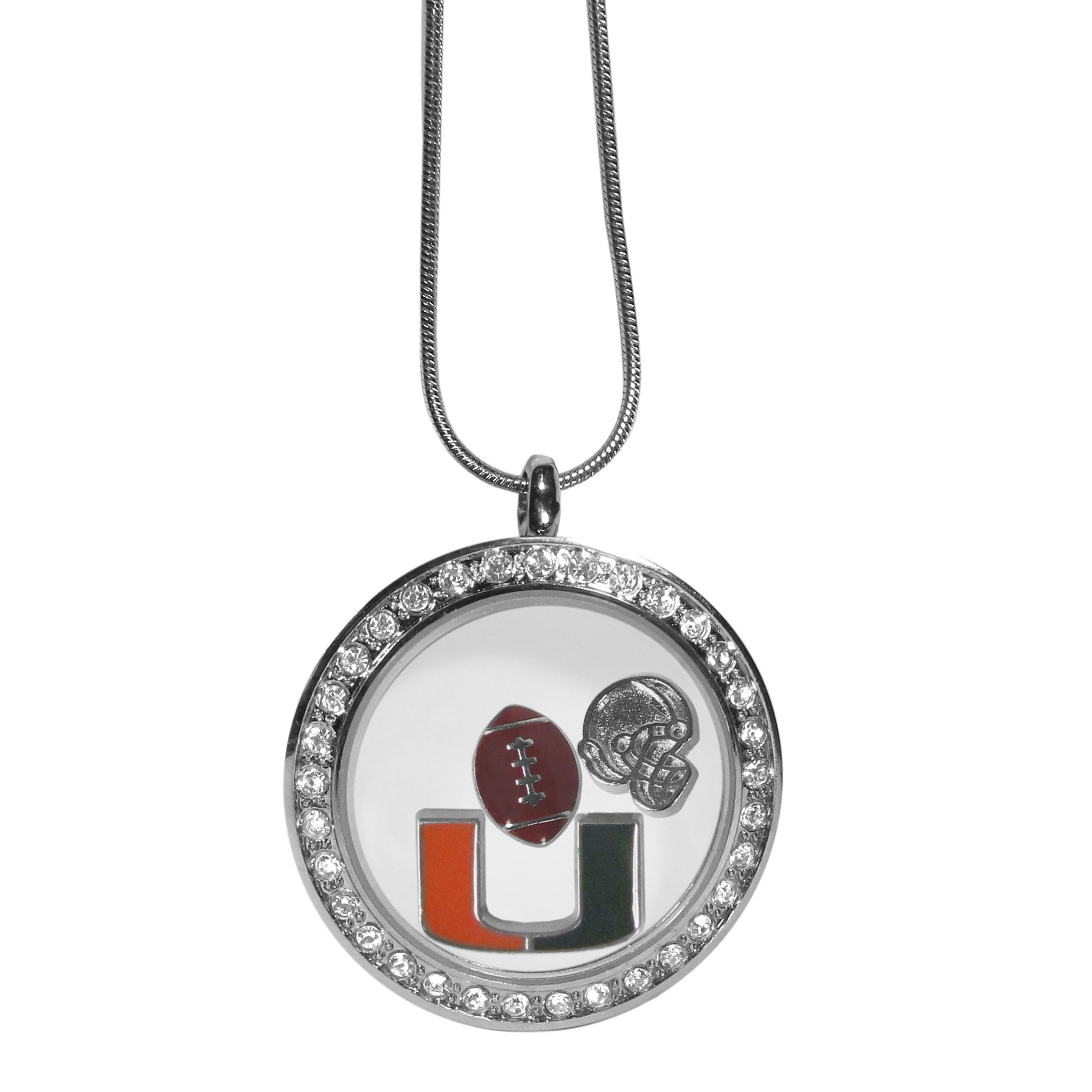 Miami Hurricanes Locket Necklace - We have taken the classic floating charm locket and combined with licensed sports charms to create a must have fan necklace. The necklace comes with 3 charms; 1 Miami Hurricanes charm, one football charm and one helmet charm. The charms float in a beautiful locket that has a strong magnetic closure with a rhinestone border. The locket comes on an 18 inch snake chain with 2 inch extender.
