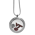 Virginia Tech Hokies Locket Necklace - We have taken the classic floating charm locket and combined with licensed sports charms to create a must have fan necklace. The necklace comes with 3 charms; 1 Virginia Tech Hokies charm, one football charm and one helmet charm. The charms float in a beautiful locket that has a strong magnetic closure with a rhinestone border. The locket comes on an 18 inch snake chain with 2 inch extender.