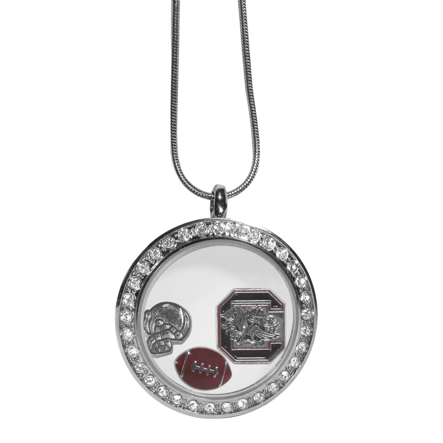 S. Carolina Gamecocks Locket Necklace - We have taken the classic floating charm locket and combined with licensed sports charms to create a must have fan necklace. The necklace comes with 3 charms; 1 S. Carolina Gamecocks charm, one football charm and one helmet charm. The charms float in a beautiful locket that has a strong magnetic closure with a rhinestone border. The locket comes on an 18 inch snake chain with 2 inch extender.