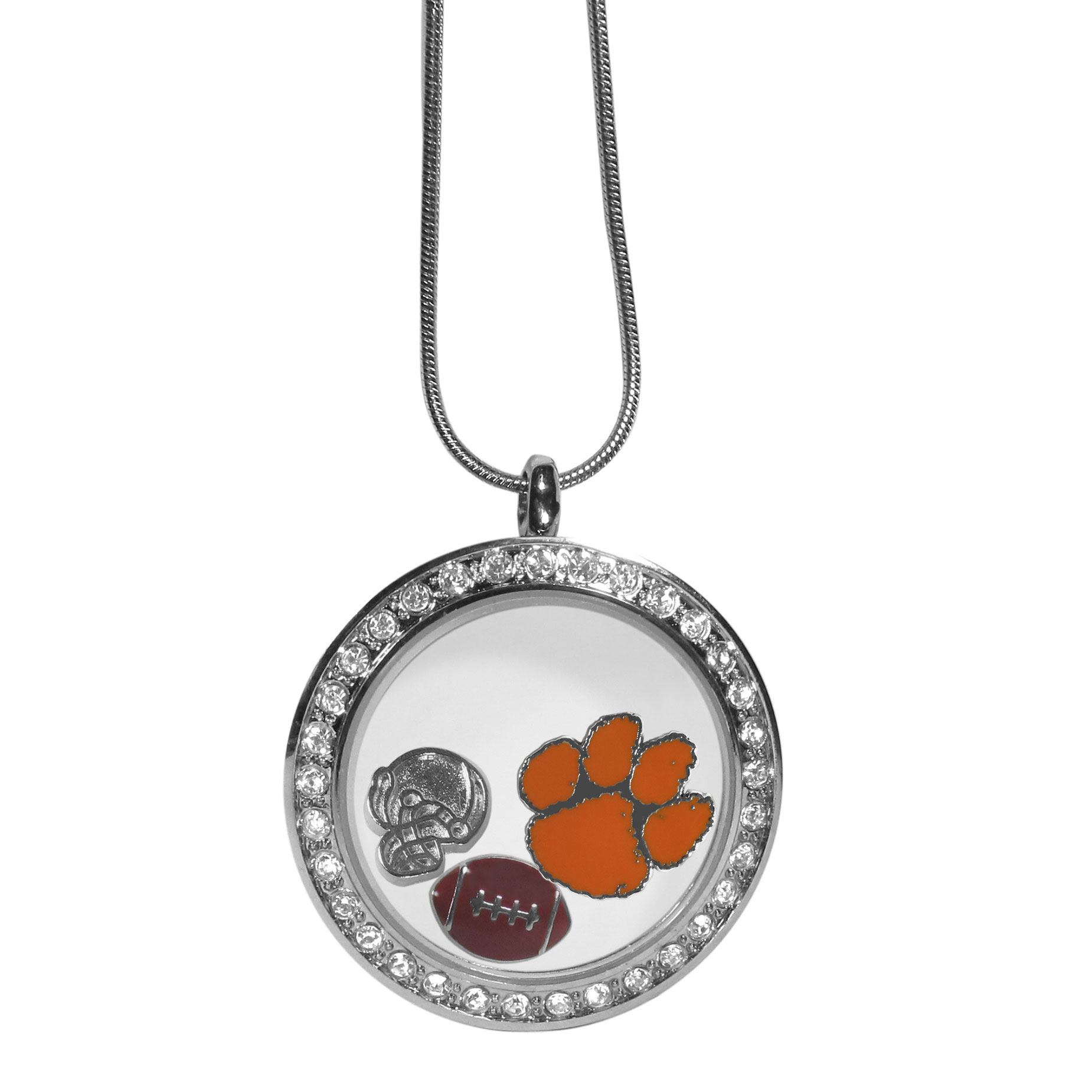 Clemson Tigers Locket Necklace - We have taken the classic floating charm locket and combined with licensed sports charms to create a must have fan necklace. The necklace comes with 3 charms; 1 Clemson Tigers charm, one football charm and one helmet charm. The charms float in a beautiful locket that has a strong magnetic closure with a rhinestone border. The locket comes on an 18 inch snake chain with 2 inch extender.