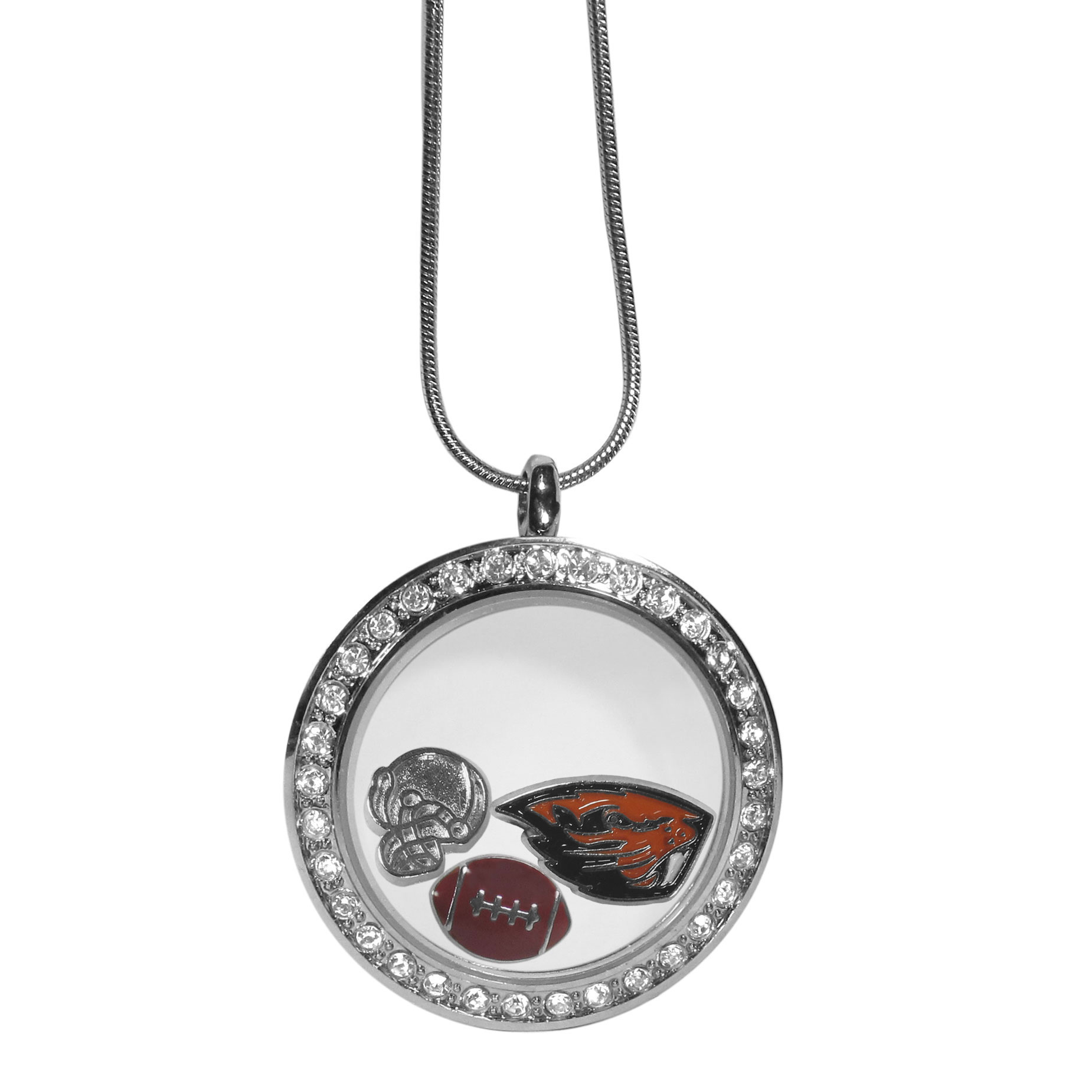 Oregon St. Beavers Locket Necklace - We have taken the classic floating charm locket and combined with licensed sports charms to create a must have fan necklace. The necklace comes with 3 charms; 1 Oregon St. Beavers charm, one football charm and one helmet charm. The charms float in a beautiful locket that has a strong magnetic closure with a rhinestone border. The locket comes on an 18 inch snake chain with 2 inch extender.